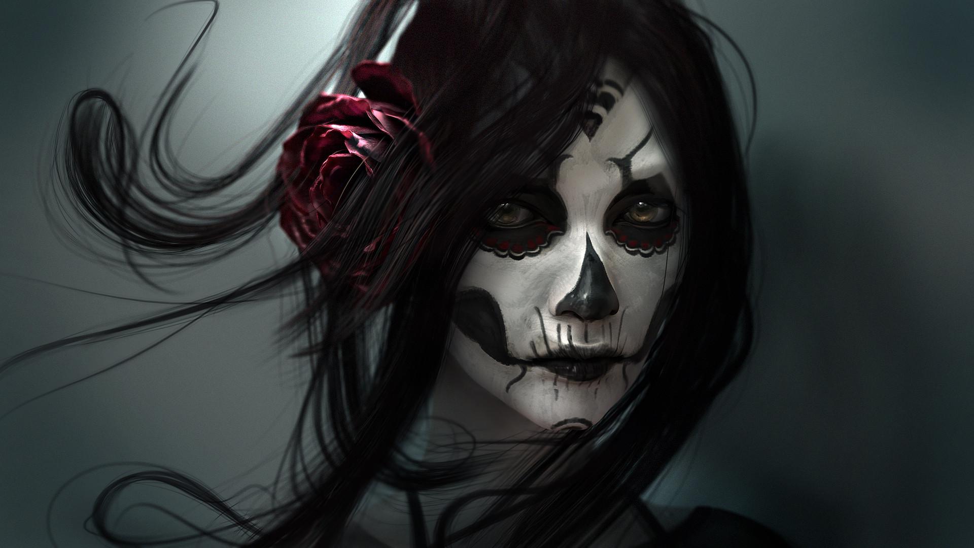 Wallpaper skull makeup 1920x1080