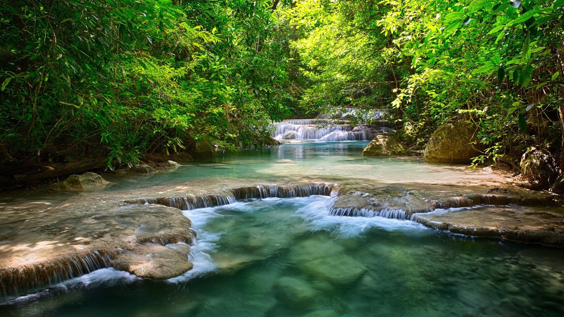 Mountain river with small rapids HD Desktop Wallpaper HD Desktop 1920x1080