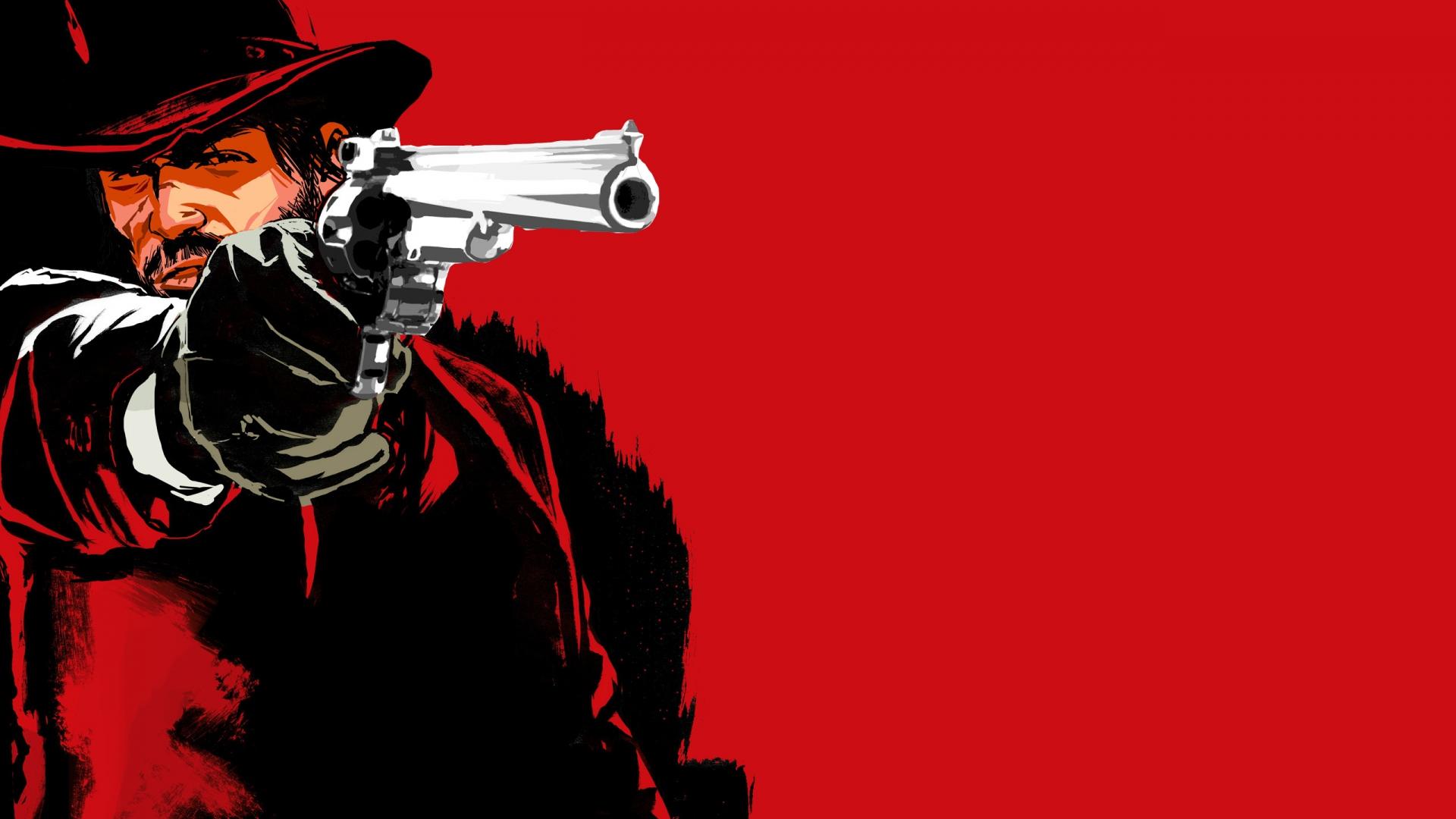 Red dead redemption game Pistol Cowboy Hat Wallpaper Background 1920x1080