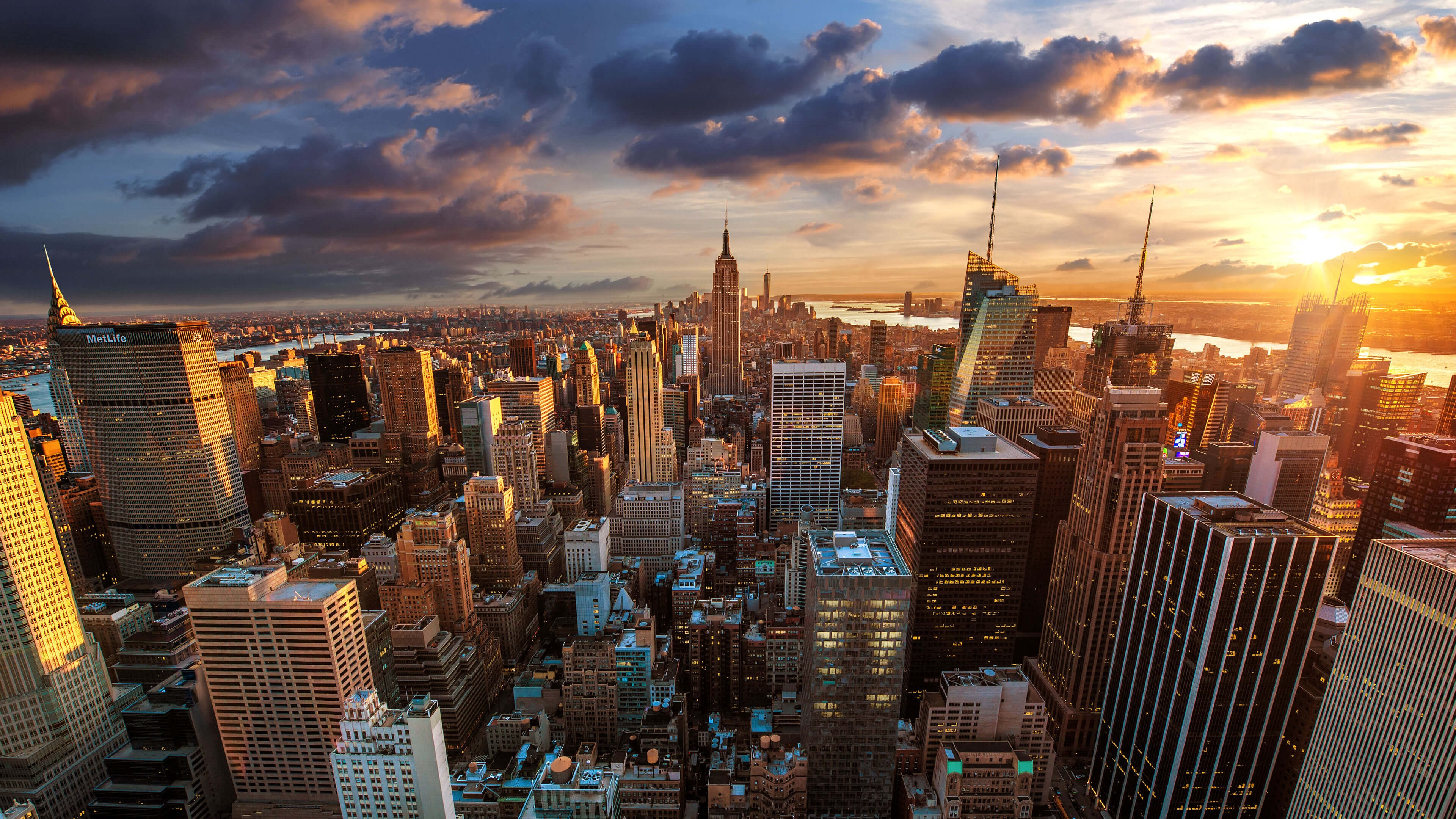 New York City Skyline At Sunset Wallpaper for Desktop 4K 3840 x 2160 3840x2160