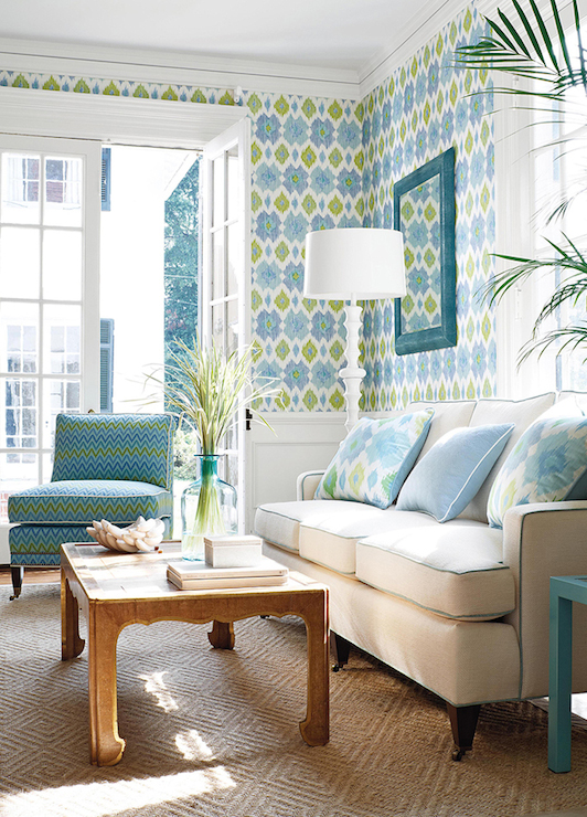Ikat Wallpaper Contemporary living room Thibaut Design 532x740