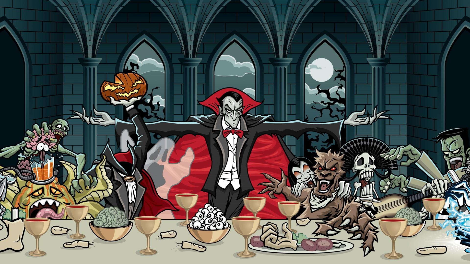 dark vampire skull monsters creatures spooky wallpaper background 1920x1080