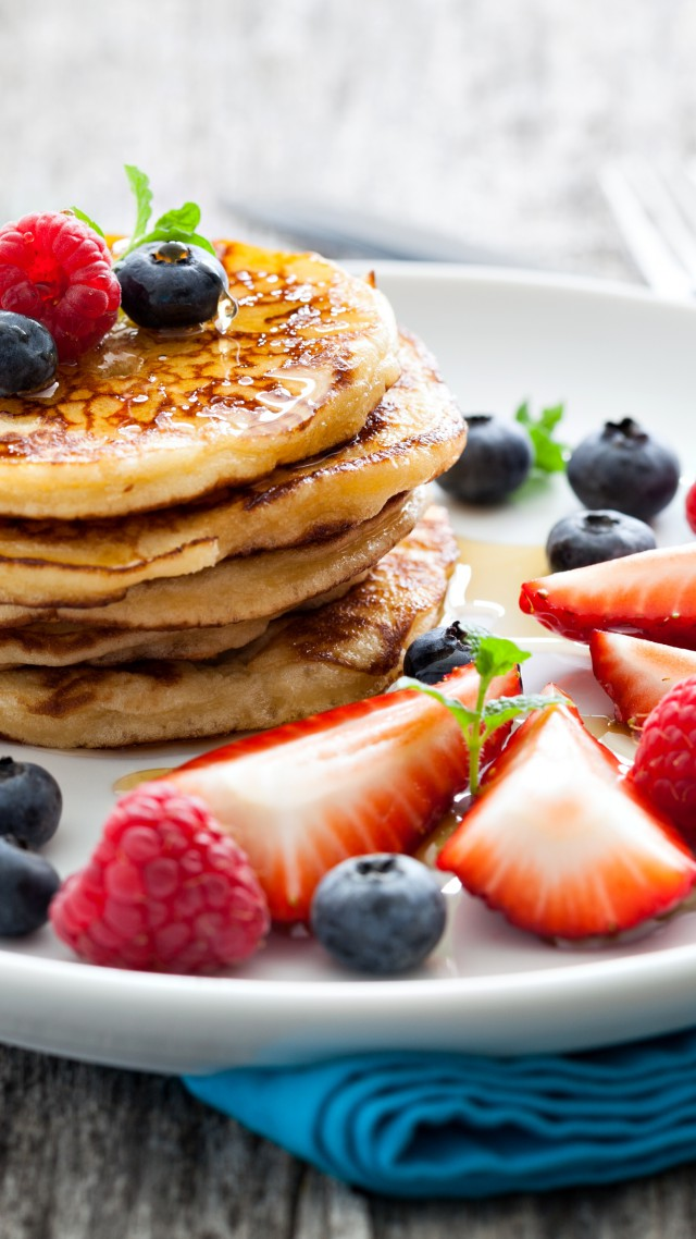 Wallpaper Pancakes raspberry fruit strawberry blueberry honey 640x1138