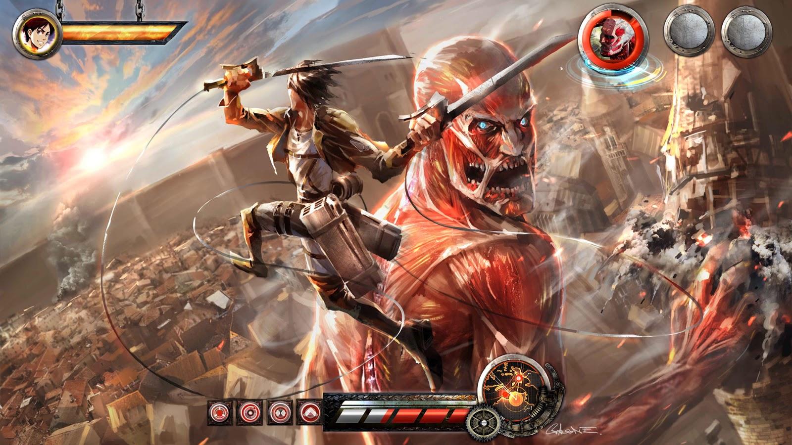 eren vs colossal titan video game attack on titan shingeki no kyojin 1600x900