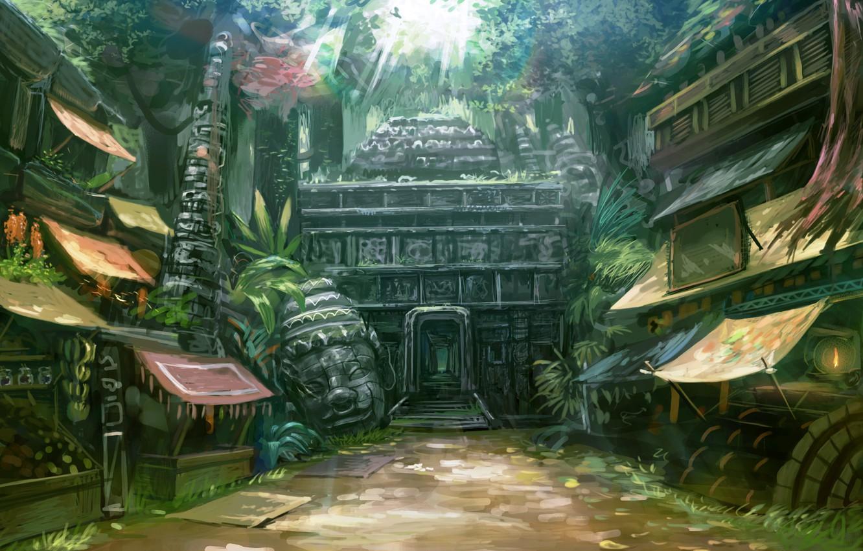 Wallpaper home head jungle temple market entrance street 1332x850