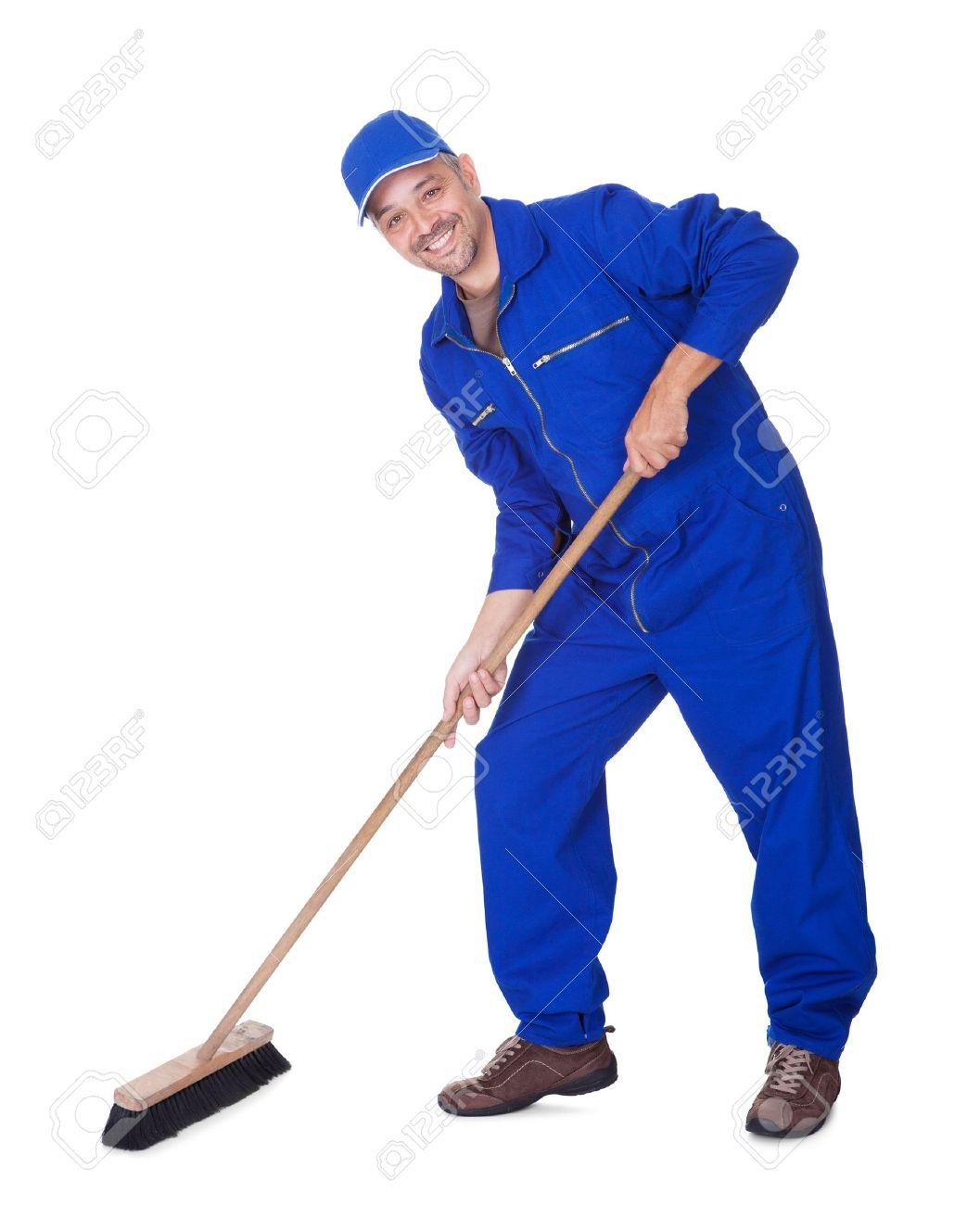 Happy Sweeper Cleaning Floor On White Background Stock Photo 1057x1300