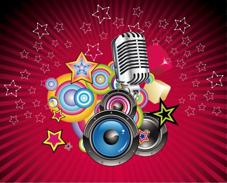 Free download Vector Music Background with Speaker and
