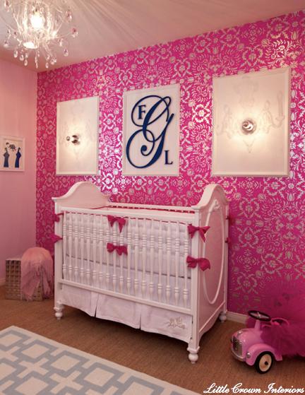 Pink Metallic Wallpaper Contemporary nursery Little Crown Interiors 432x559