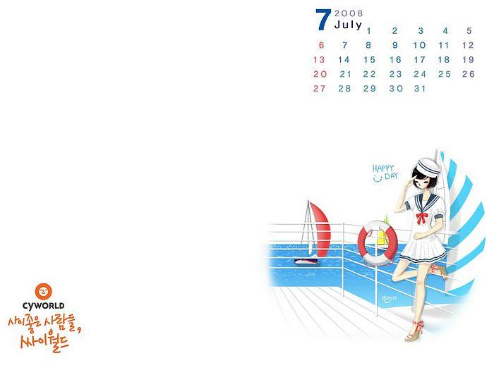 July 2008 Calendar Wallpapers   July Wallpaper   July Cartoon Calendar 700x525