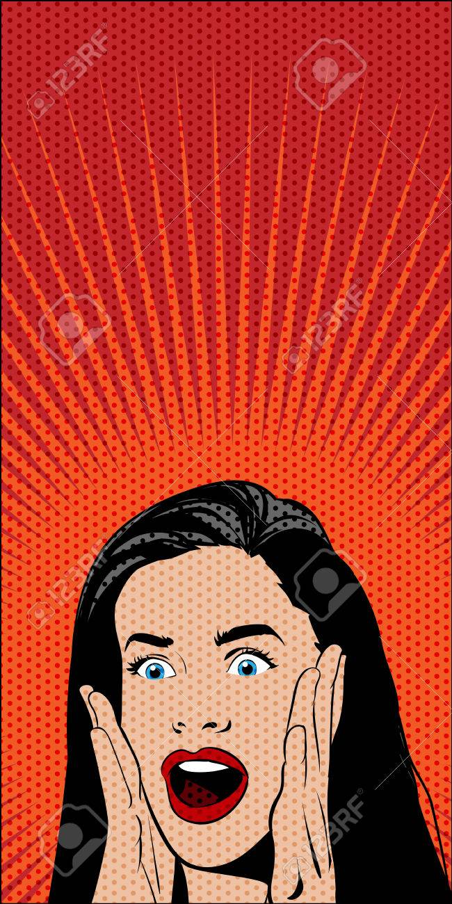 Vector Pop Art Comics Shocked Woman On Red Background Dotted 650x1300