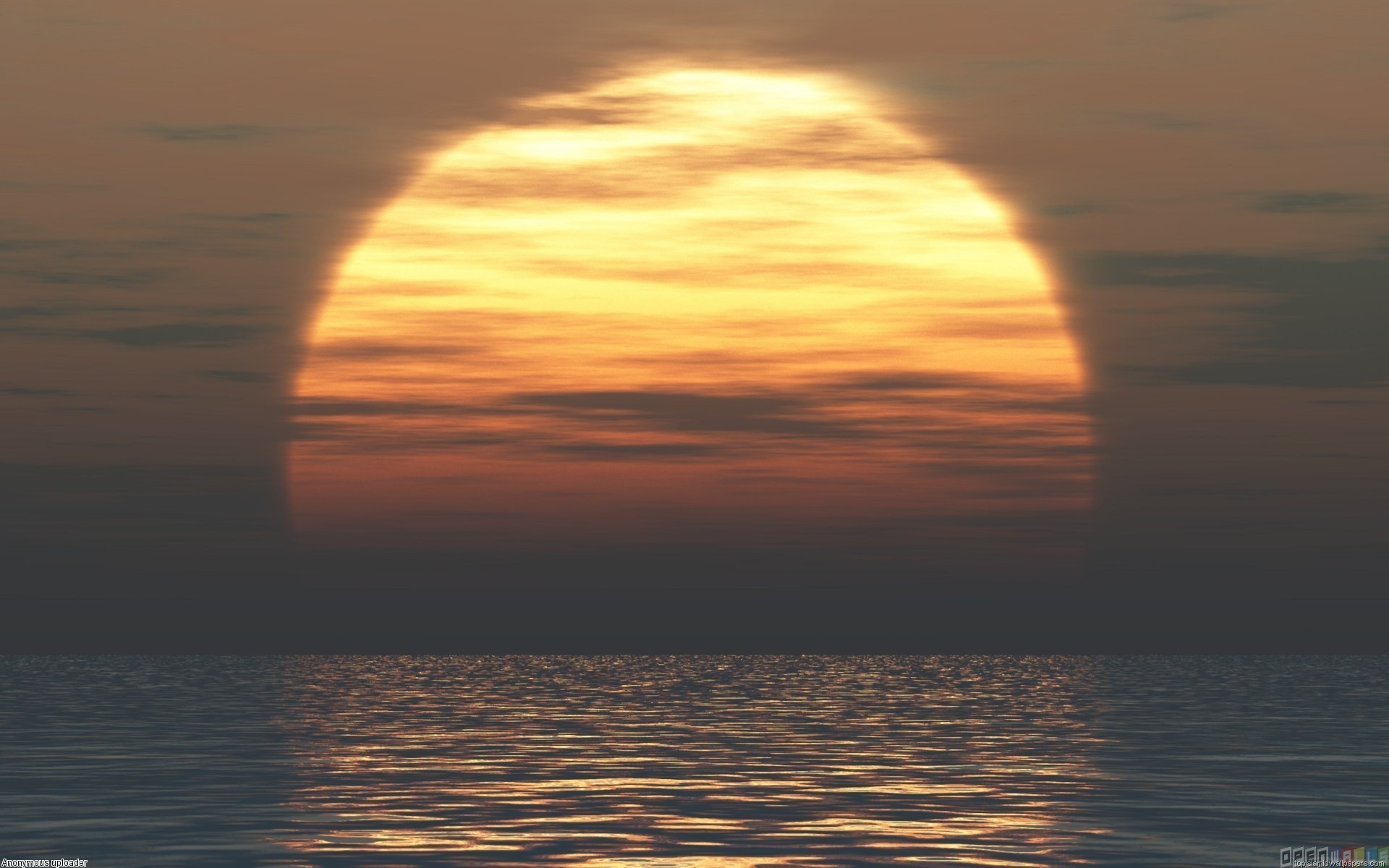 Beautiful Big Sunrise Sun above Sea HD Wallpaper 1920x1200