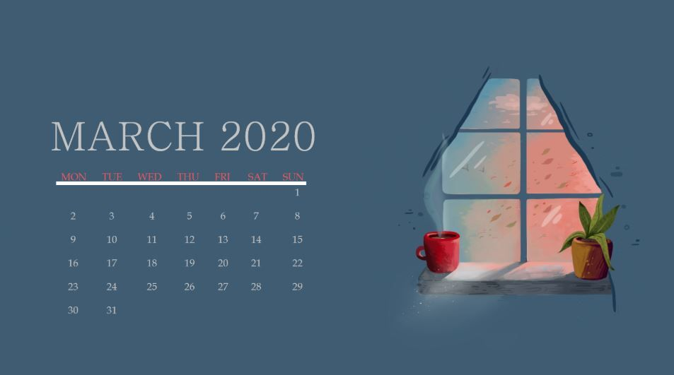 Cute March 2020 Wallpaper in 2020 Wall calendar Calendar 953x531
