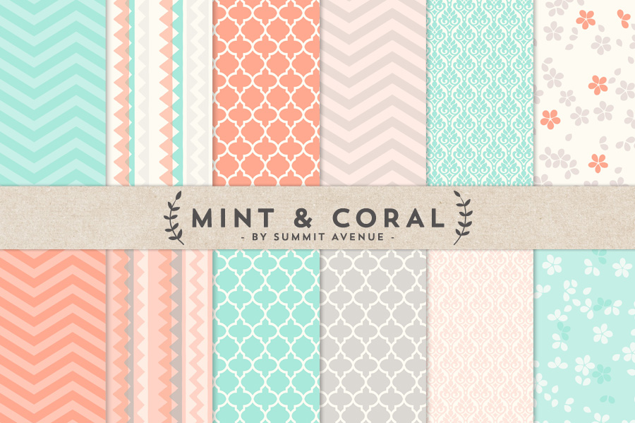 Mint Coral Digital Paper Patterns Patterns on Creative Market 900x599