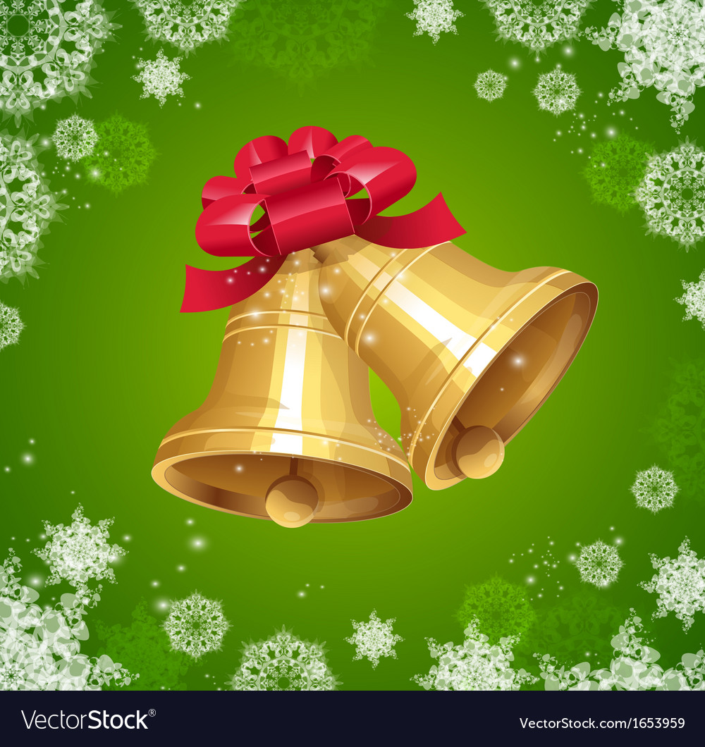 Jingle bells with red bow on winter background Vector Image 1000x1060