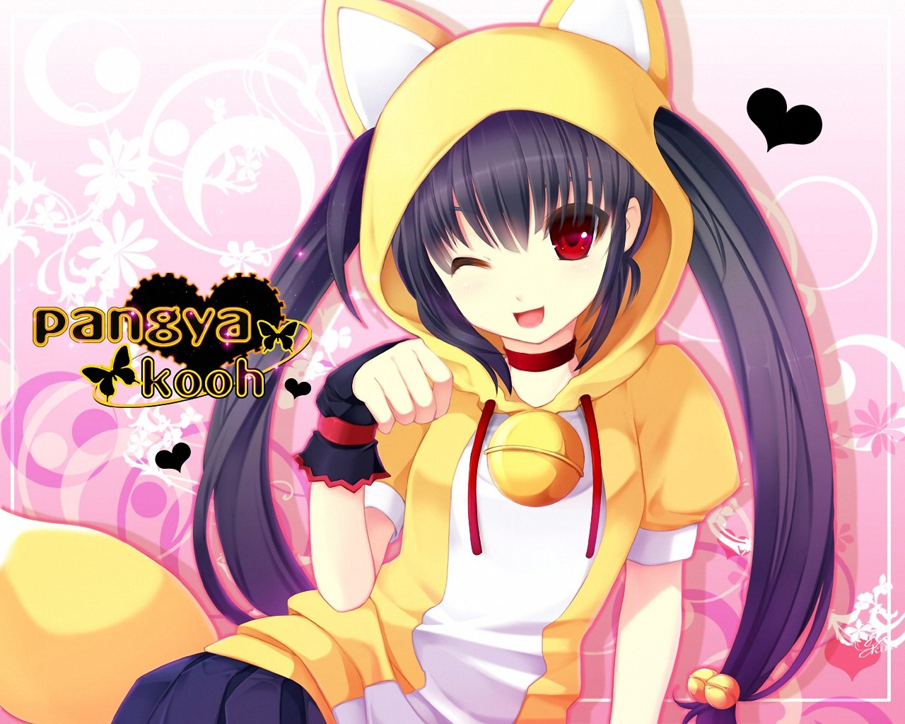 anime super fan images neko girl HD wallpaper and background photos 1280x1024