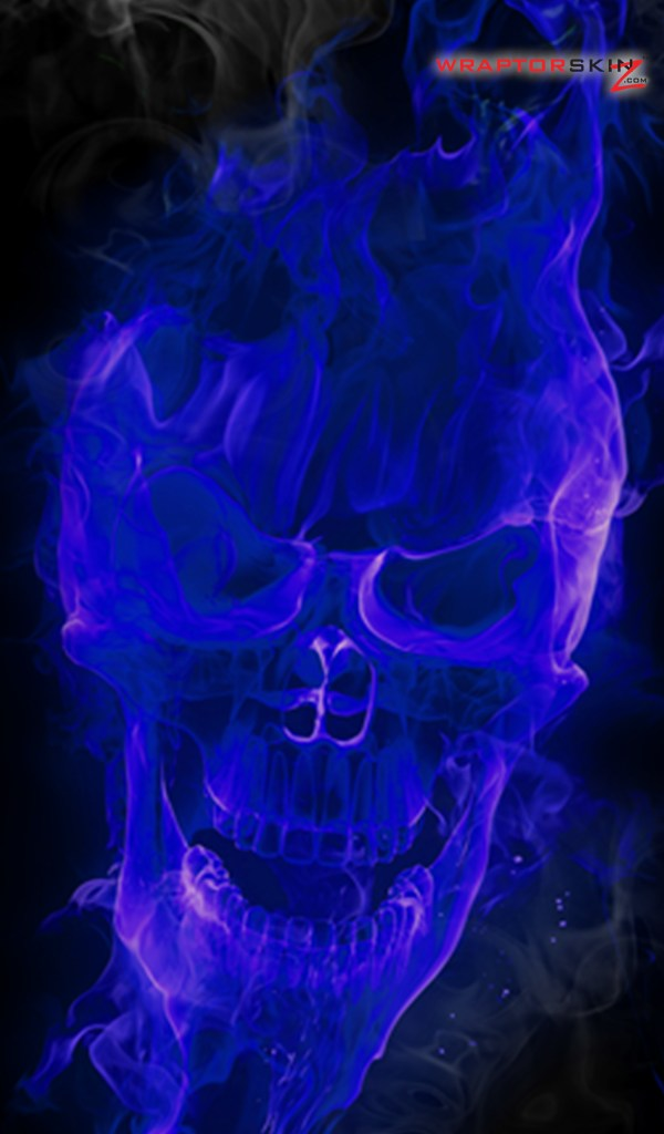 Kindle Fire Original Decal Style Skin   Flaming Fire Skull Blue 600x1024
