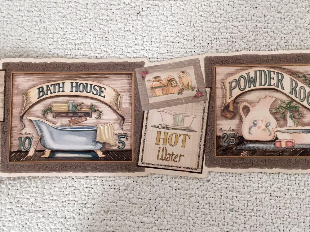 Bathroom Powder Room Primitive Country Bath Wallpaper Border eBay 1000x750