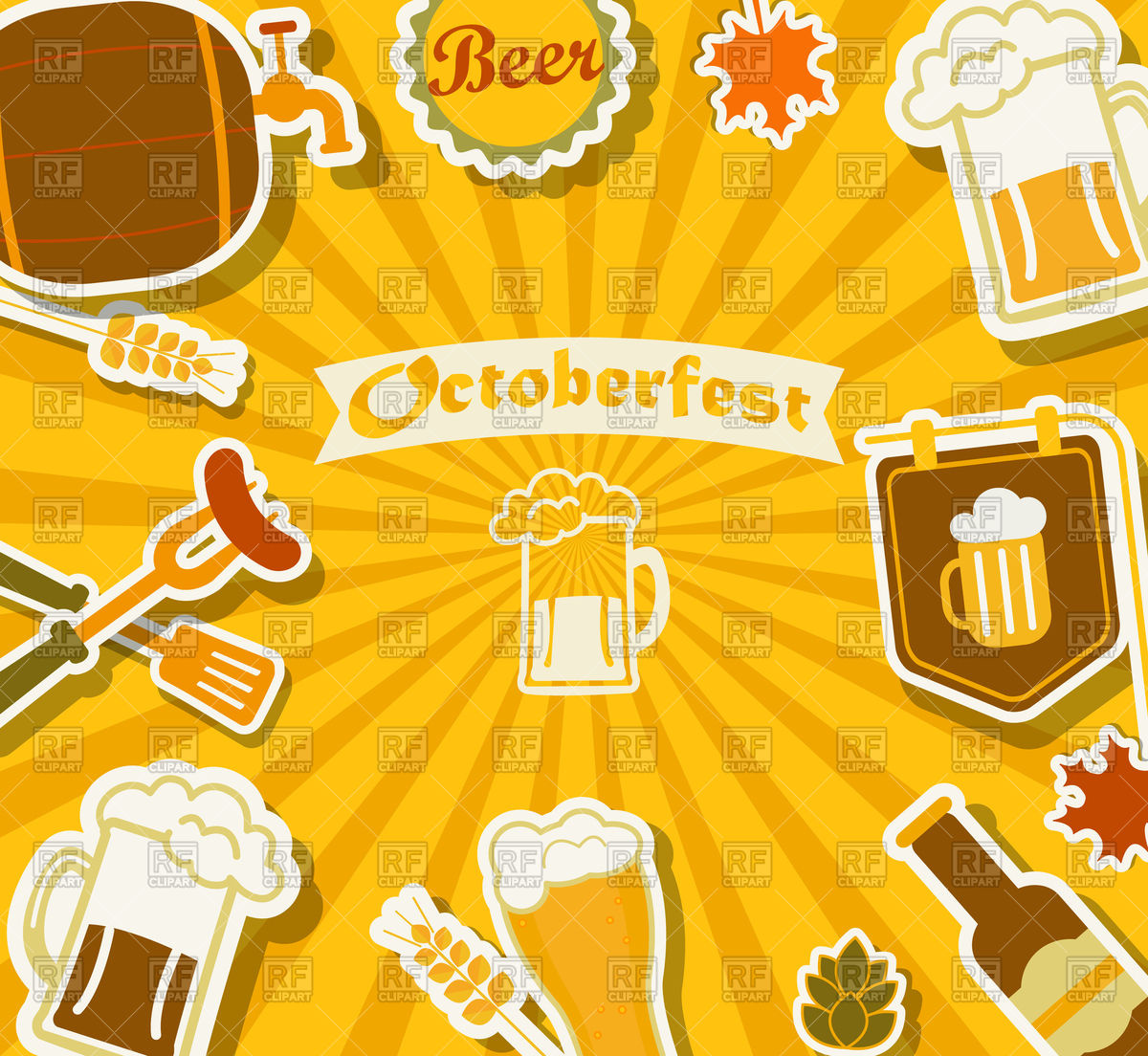 Oktoberfest background with mug of beer and barrel Vector 1200x1104