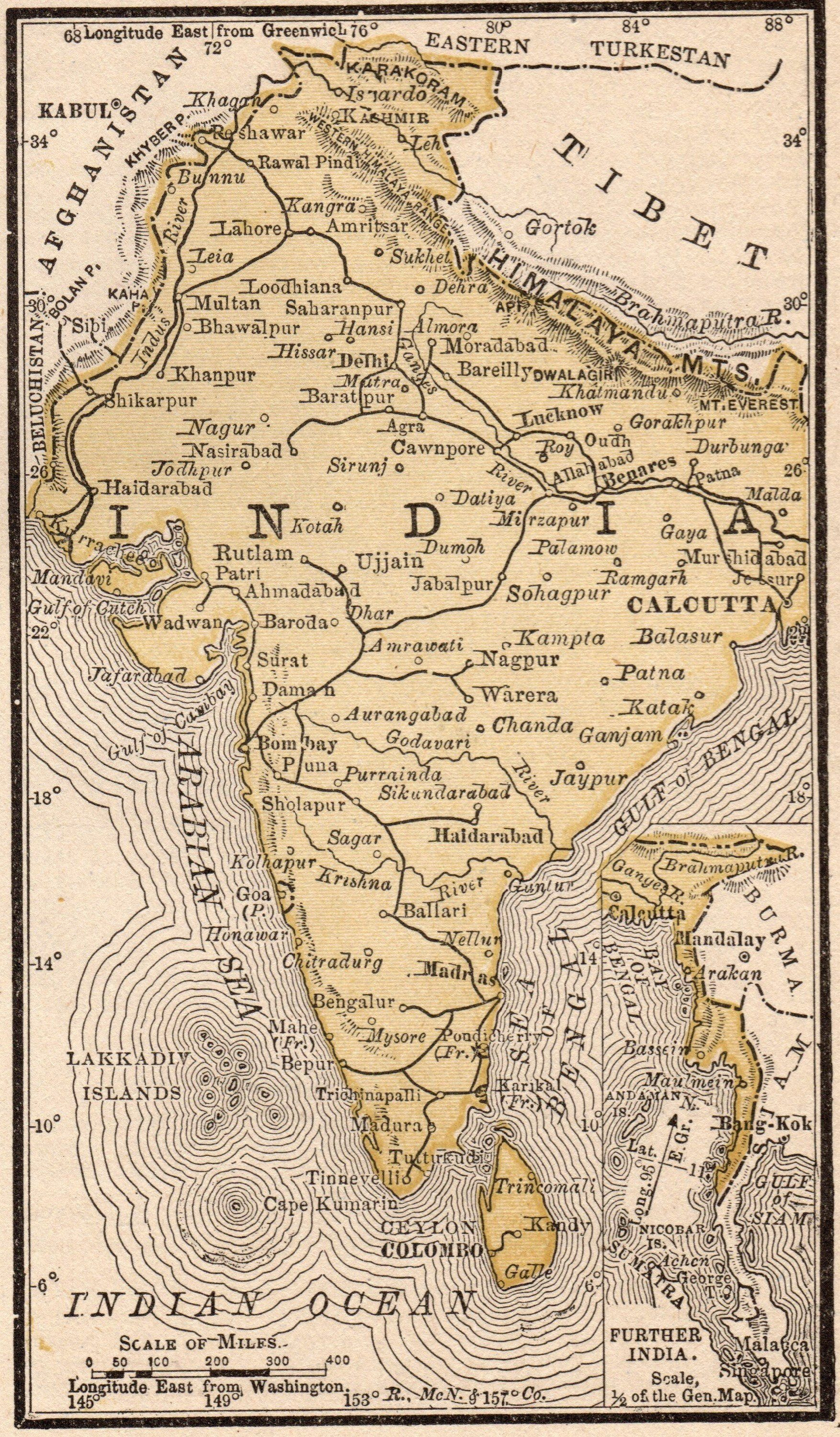 1888 Miniature INDIA Map Vintage Map of India Gallery Wall Art 1754x3000