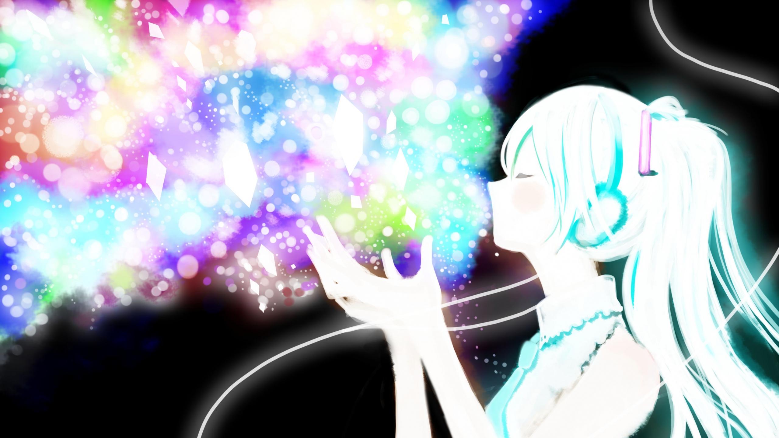 miku Vocaloid Anime Girl Glitter Wallpaper Background Mac iMac 27 2560x1440