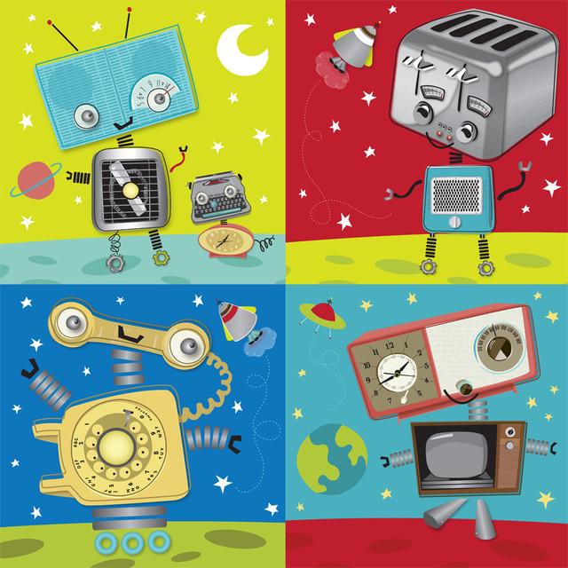 Retro Robot Collection Wall Art   Contemporary   Wallpaper   by Murals 640x640