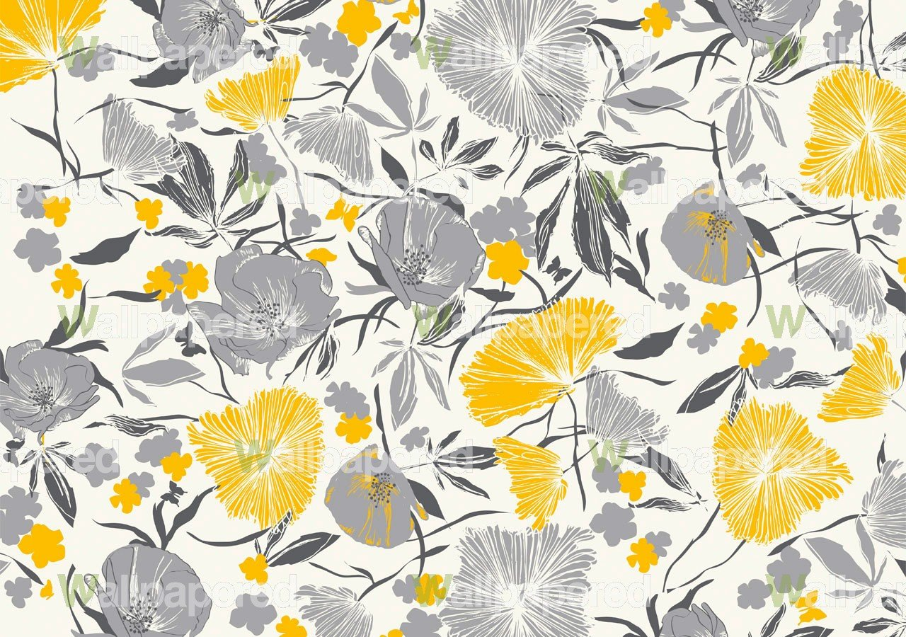 Gray and mustard wallpaper