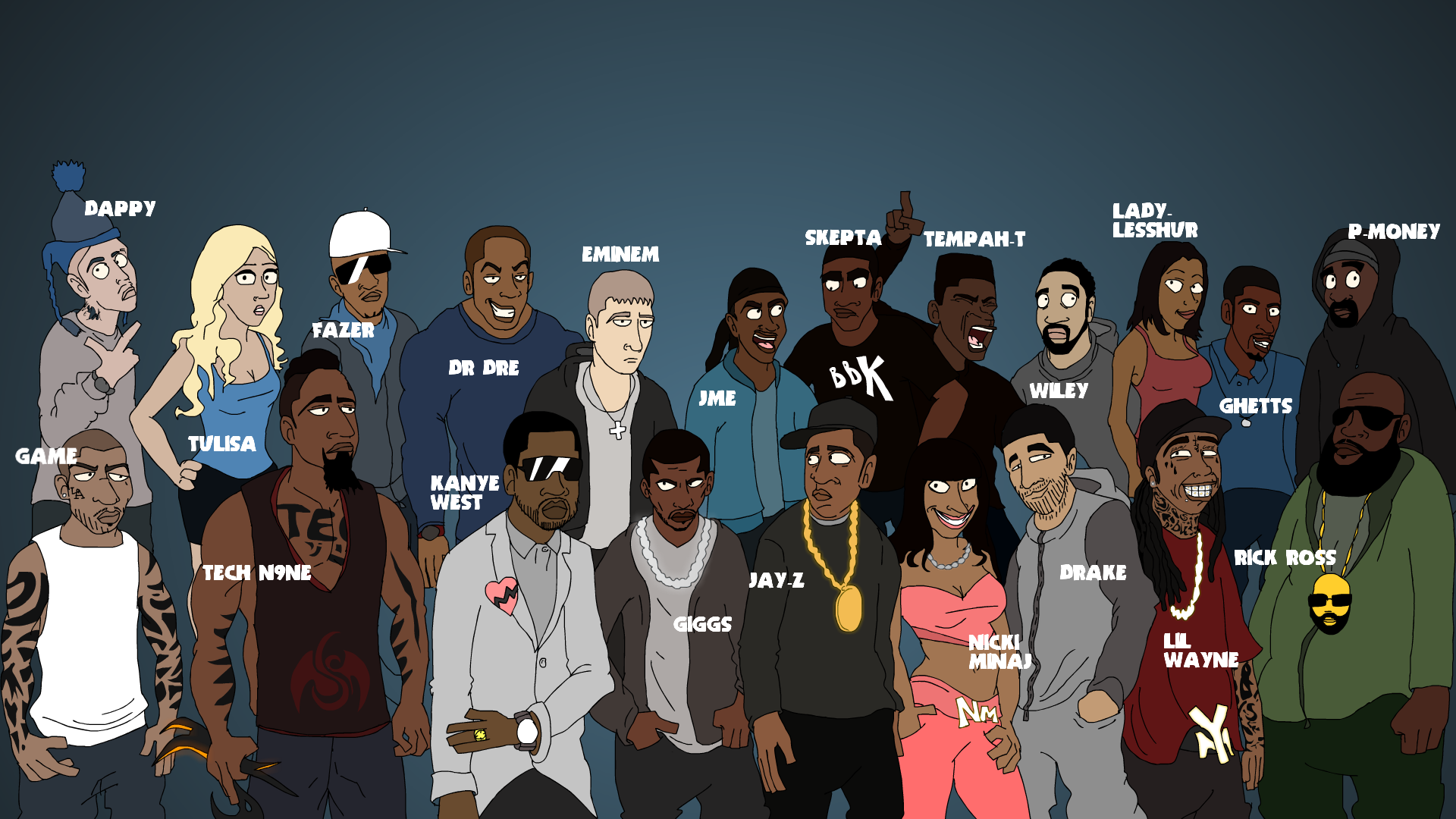 Rappers if they were Cartoons Rap Wallpapers 1920x1080