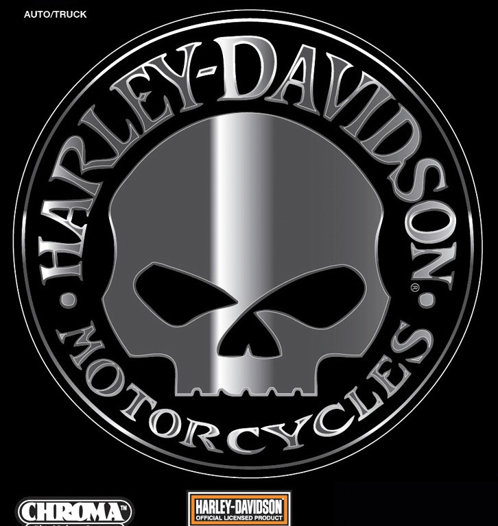 HARLEY DAVIDSON WILLIE G SKULL CHROME DECAL 726x768