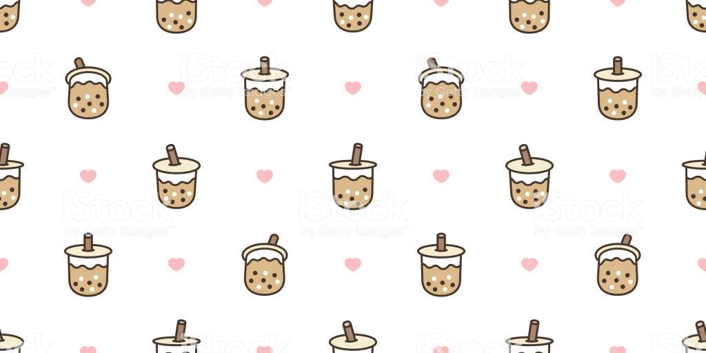 Boba Tea Seamless Pattern Vector Bubble Milk Tea Heart Valentine 1024x512