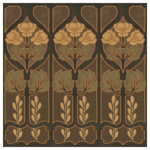 Penrith Gothic Flower Border Mocha Wallpaper Border by Blue Mountain 500x500