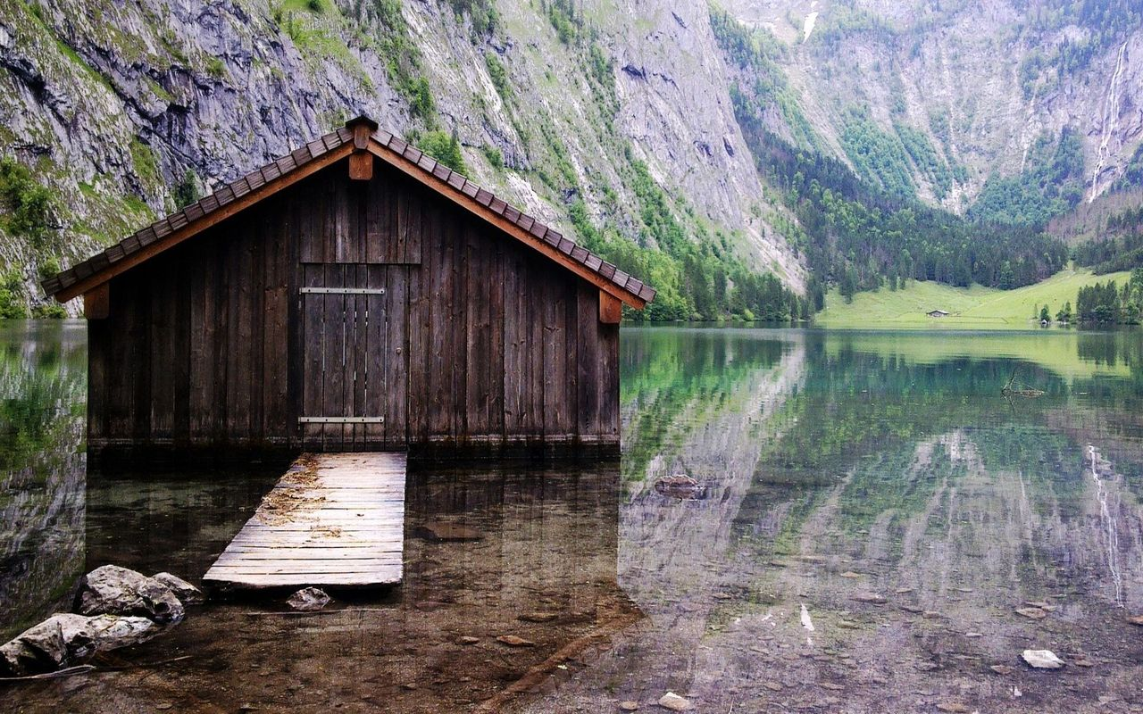 Cabin on the lake wallpaper 8977 1280x800