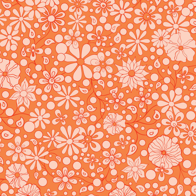 Flower Child   Orange Wall Mural   Contemporary   Wallpaper   by 640x640