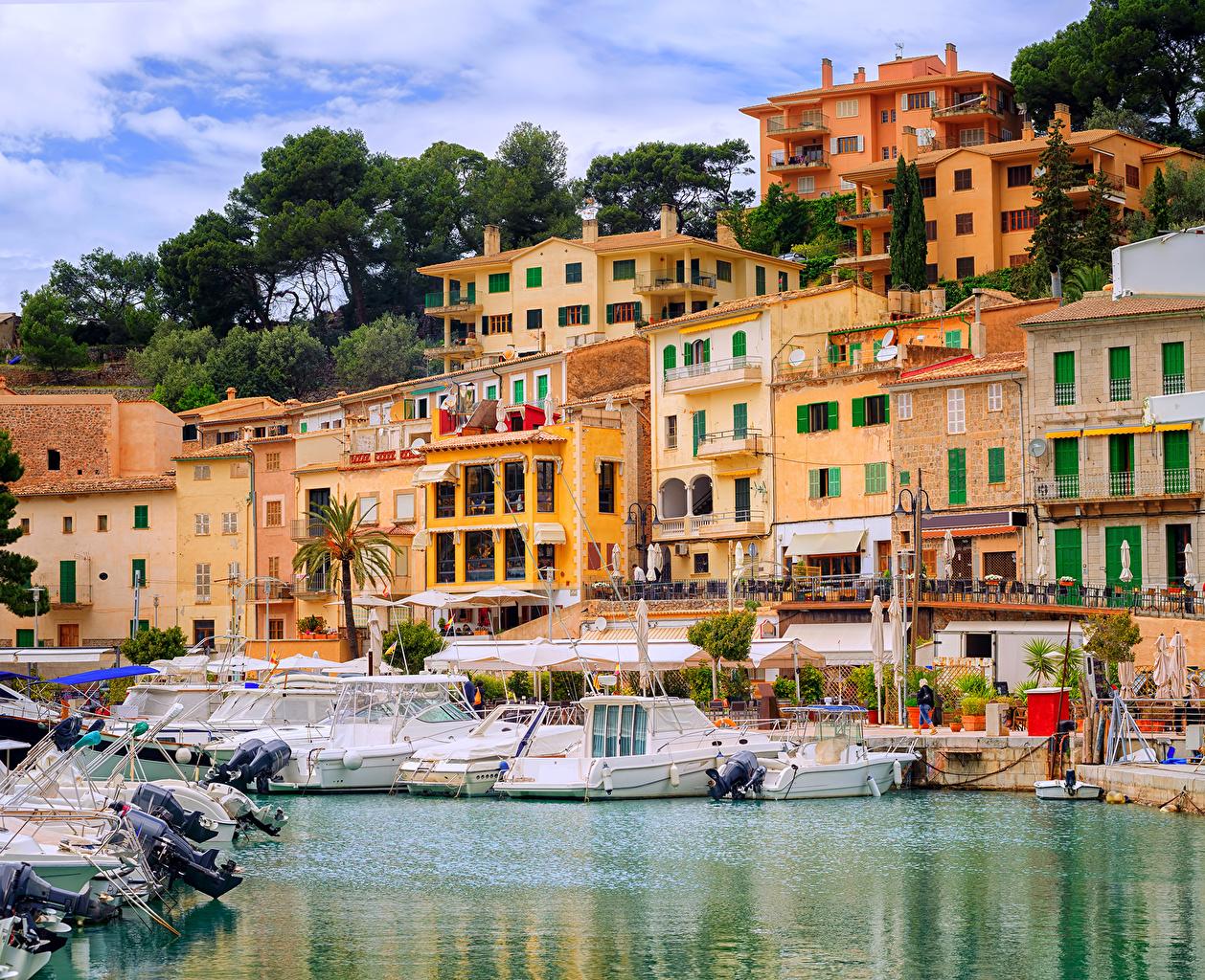 Wallpaper Majorca Mallorca Spain Puerto Soller Pier Yacht Cities 1258x1024