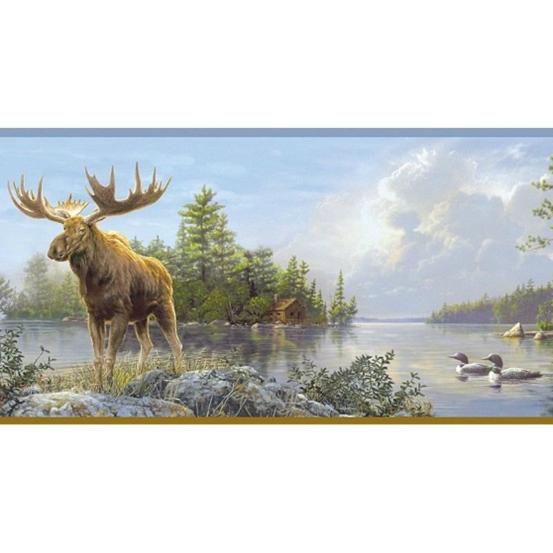 Wallpaper Border Animals Nature Moose Lake Border 800x800