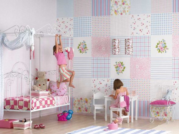 patchwork wallpaper for girls room 587x440