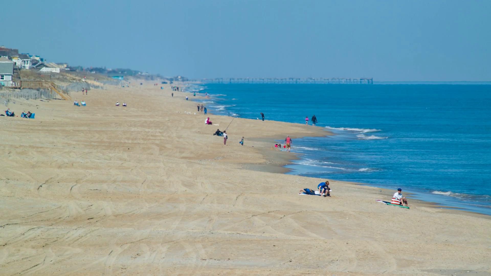 Outer Banks Visitors on Nags Head Beach in North Carolina Enjoying 1920x1080