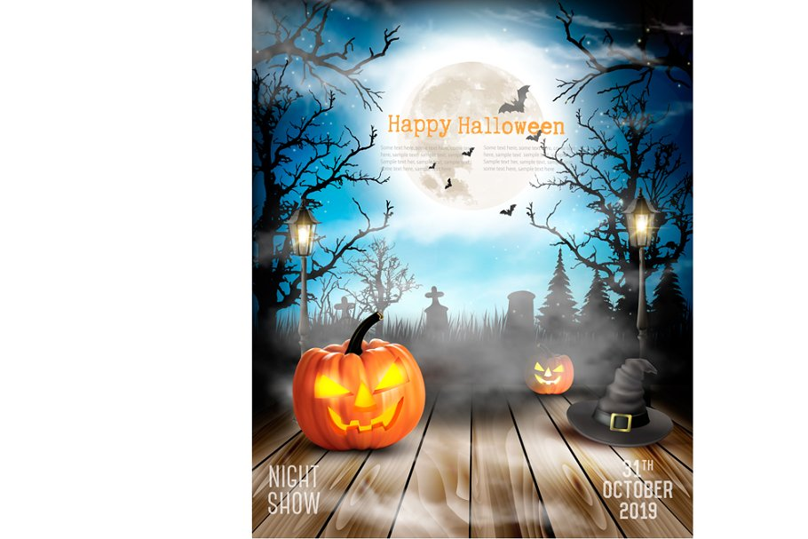 Scary Halloween background Vector Illustrations Creative Market 910x607
