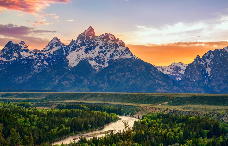 Wallpaper summer mountains river USA Wyoming Snake River 1332x850