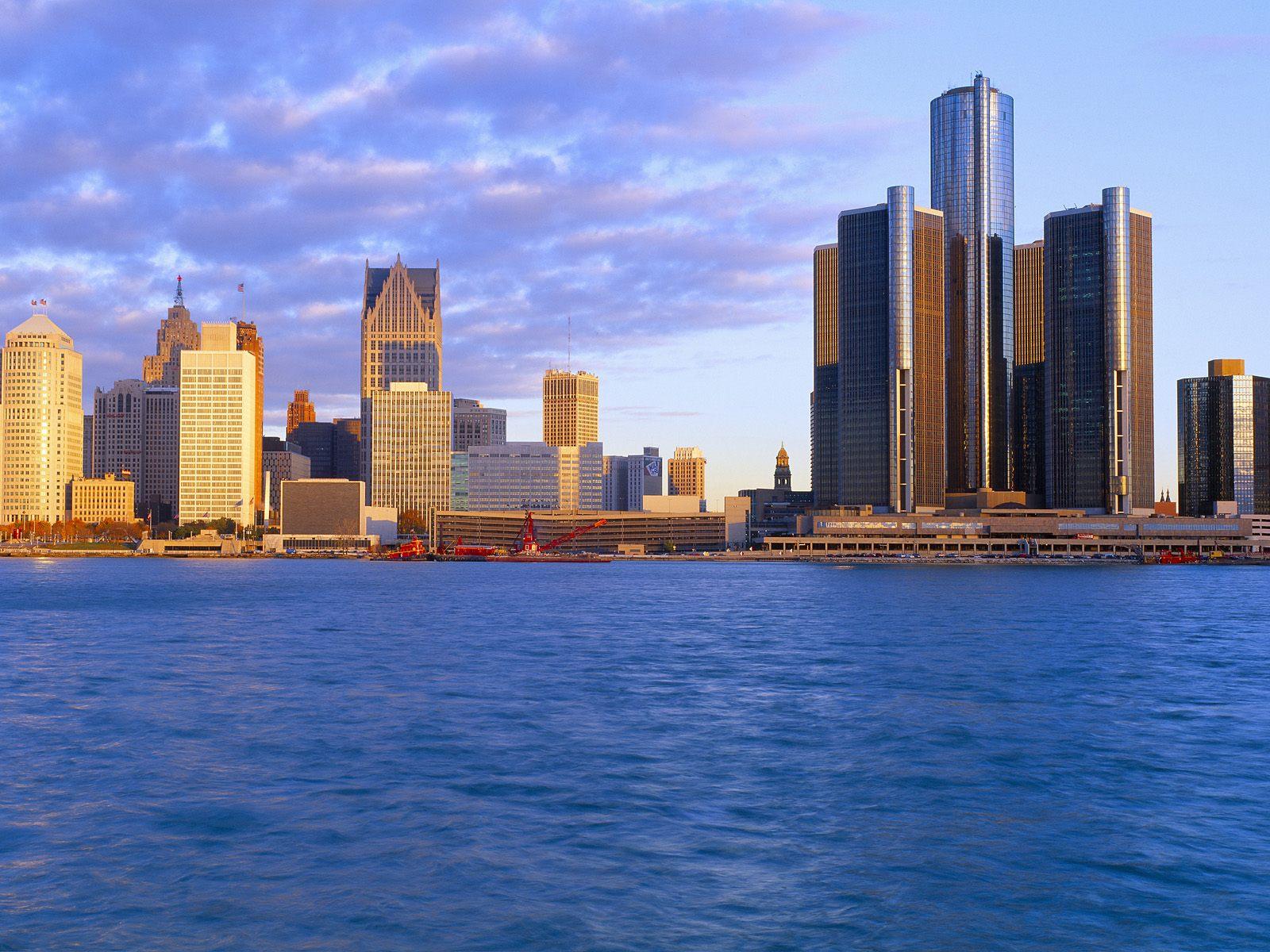 Detroit at Sunrise Michigan Wallpapers HD Wallpapers 1600x1200