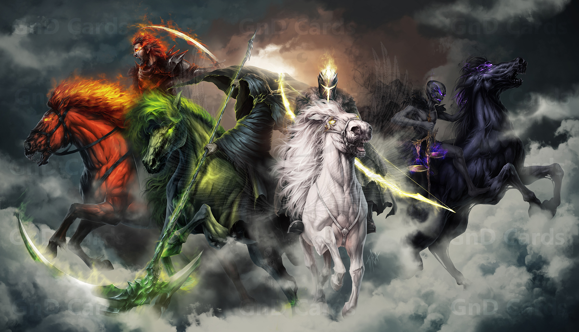 Four Horsemen Of The Apocalypse Fantasy Wallpapers 2000x1148
