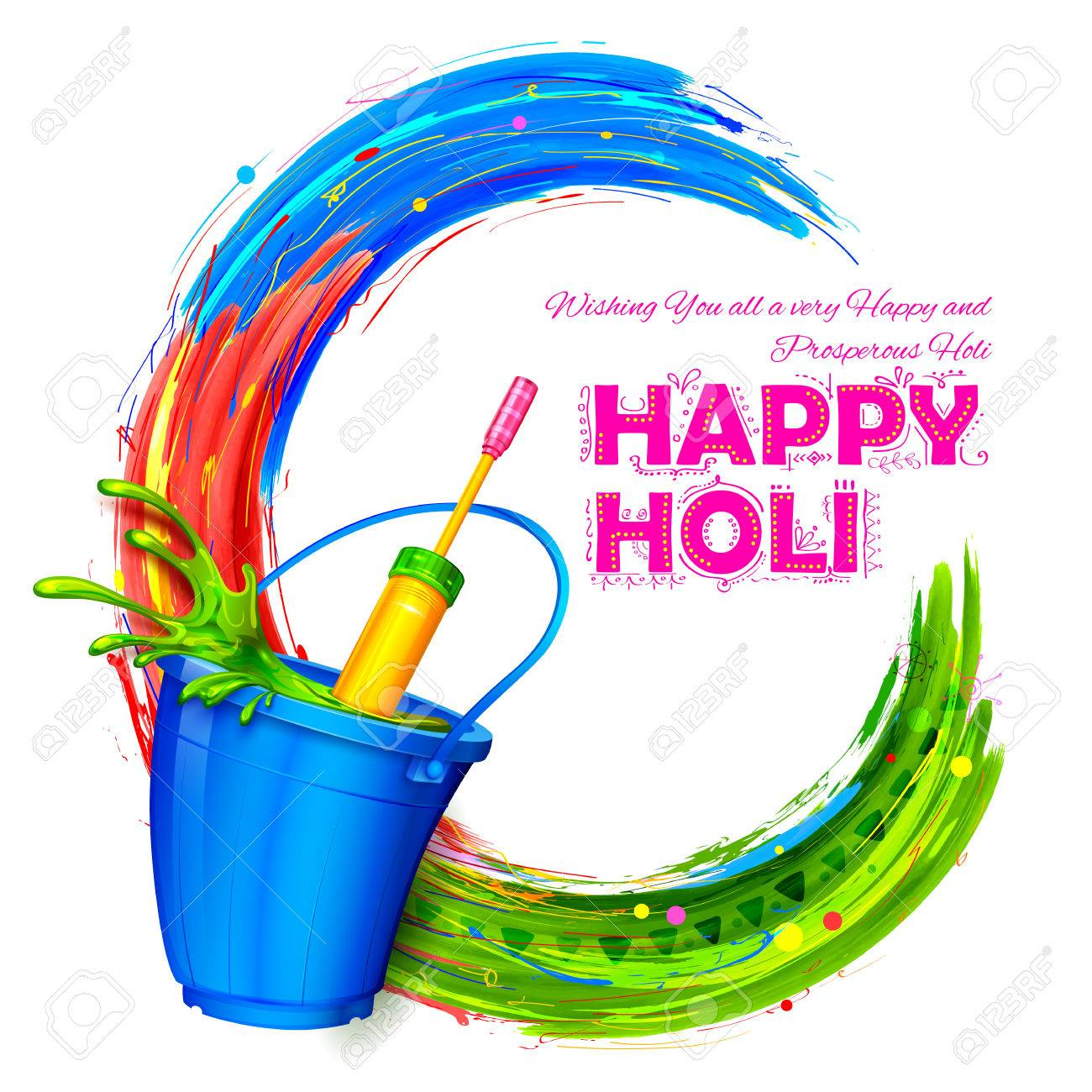 Illustration Of Splashy Bucket With Pichkari In Happy Holi 1300x1300