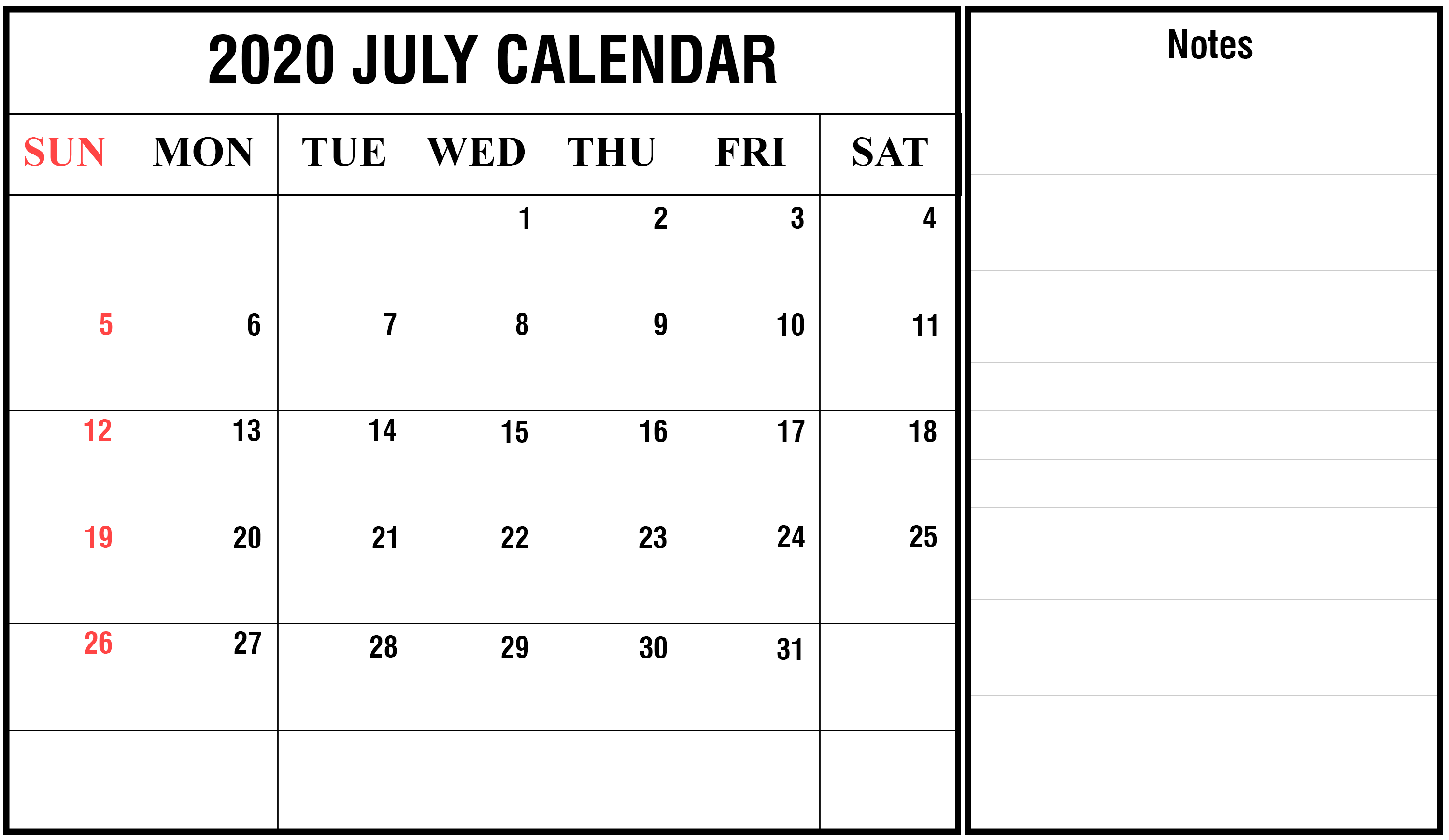Awesome July 2020 Calendar PDF Word Excel Template 3000x1740