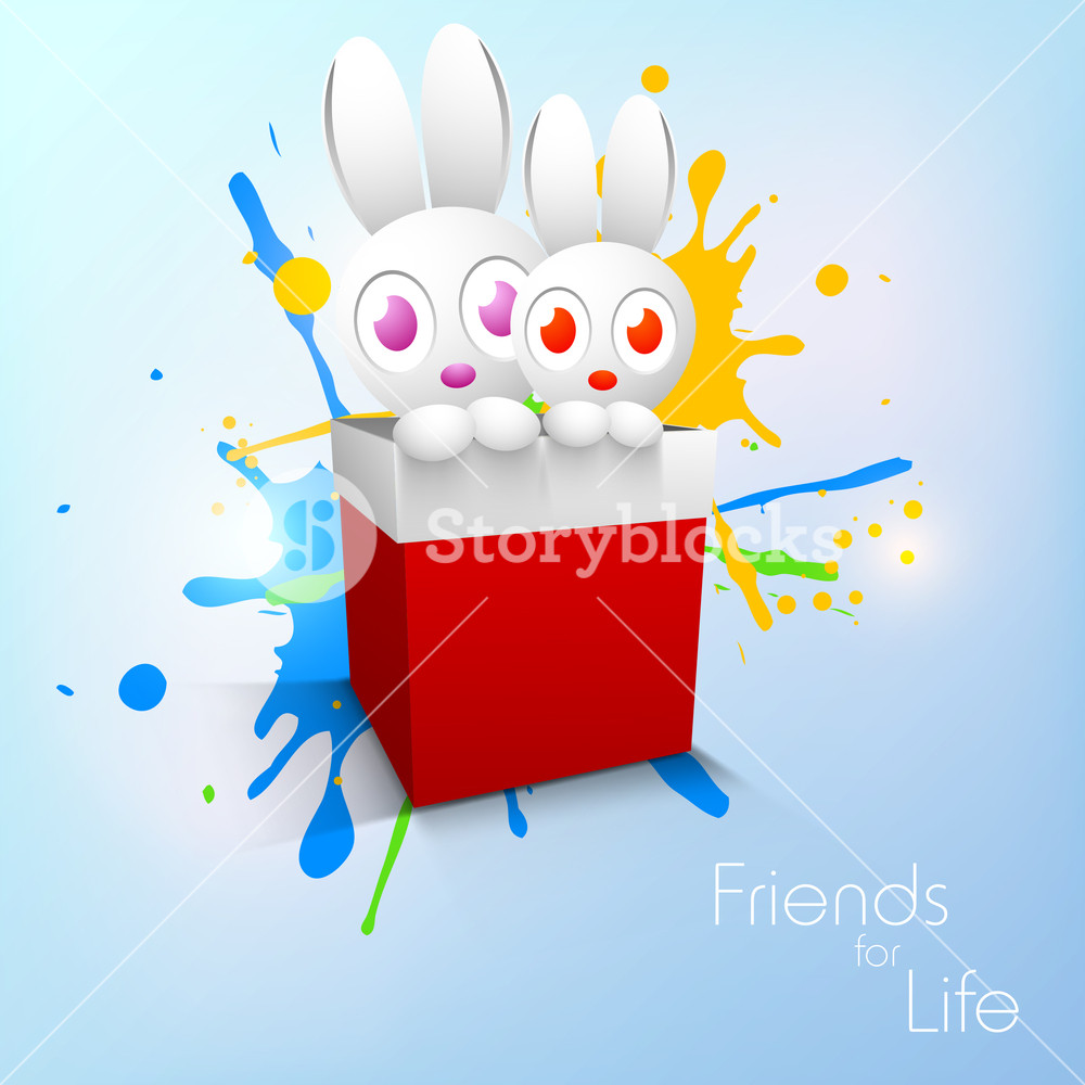 Happy Friendship Day Concept With Little Rabbiits In A Redbox On 1000x1000