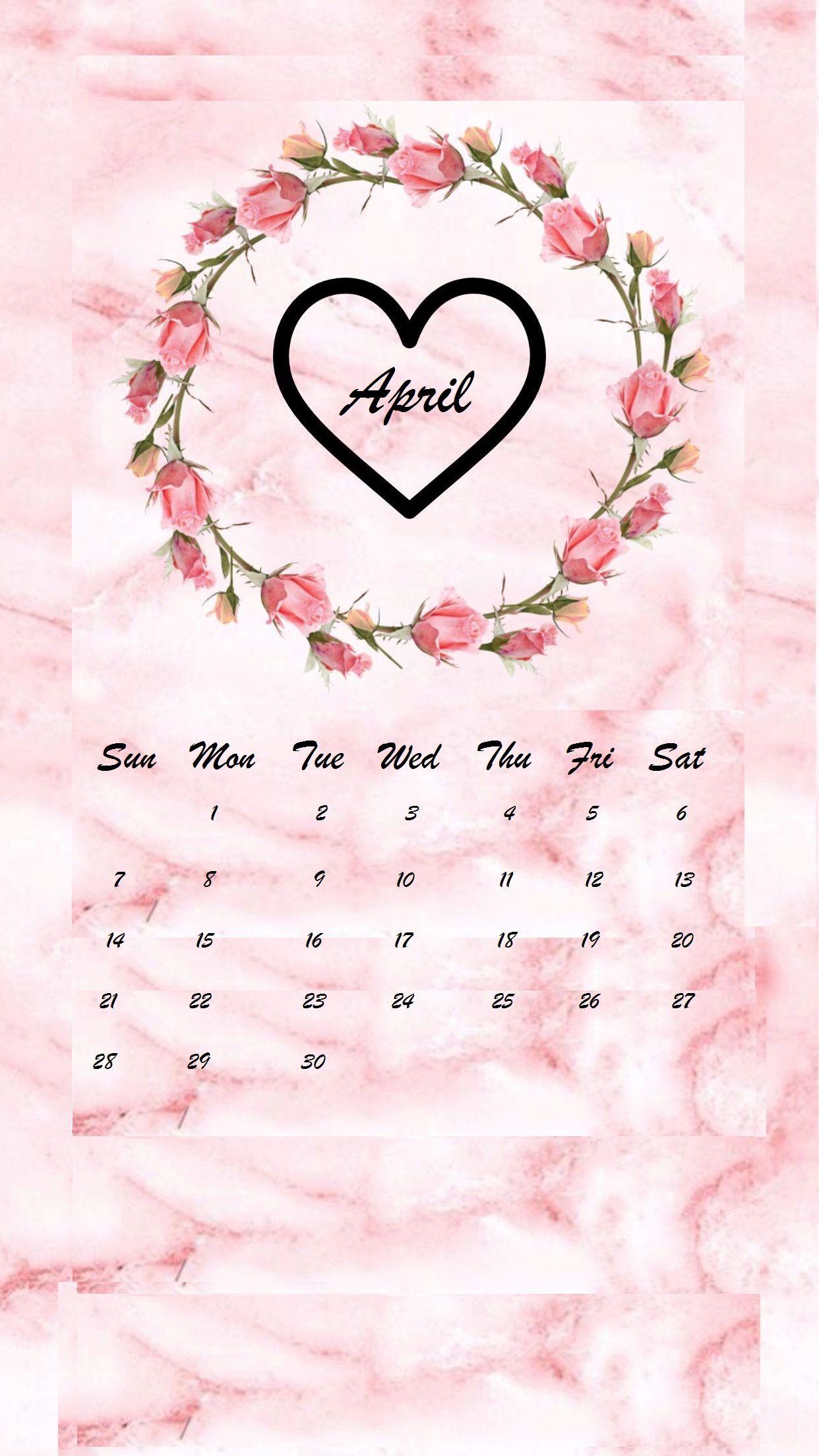April 2019 flower heart iPhone Calendar wallpaper april2019 1242x2208