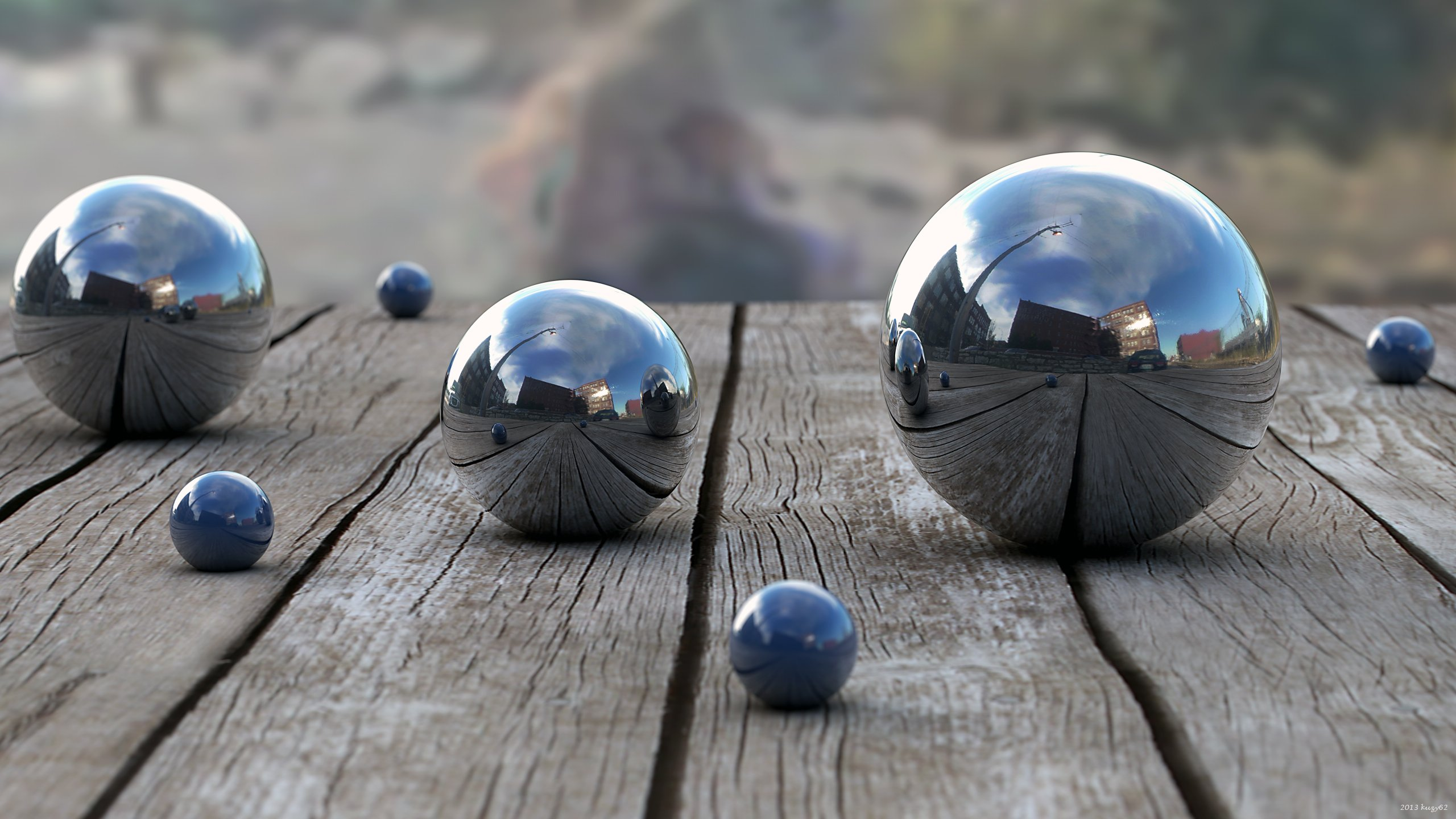 Balls Wood Reflection depth 3d bokeh wallpaper 2560x1440 48948 2560x1440
