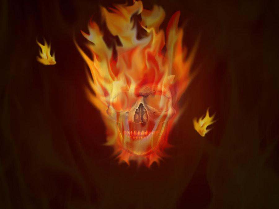 wallpaper skull in fire by Cristian79 on deviantART 900x675