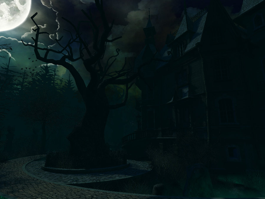 Haunted House background by moonchild ljilja 900x675