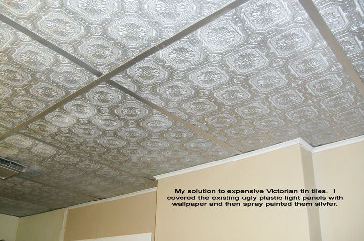 Textured wallpaper panels wallpapersafari - Can you wallpaper drop ceiling tiles ...