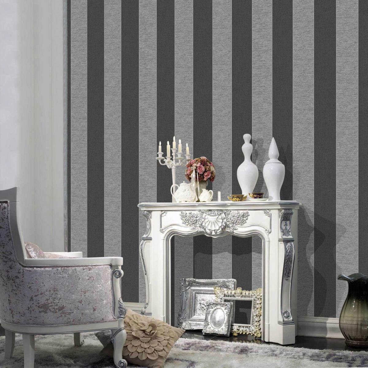 Shop By Brand Fine Decor Torino Black and Grey Stripe Wallpaper 1200x1200