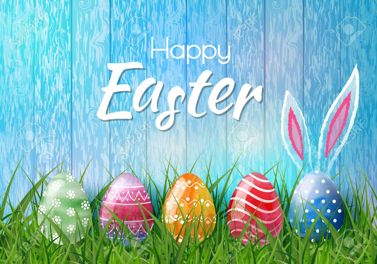 Happy Easter Background With Realistic Easter Eggs Easter Card 1300x910